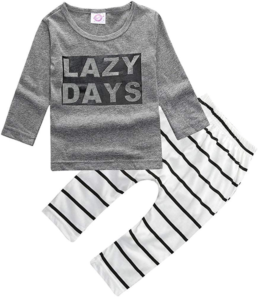 ZHUANNIAN Baby Girls Long Sleeve Sweater Top and Jeans Outfit Set Grey