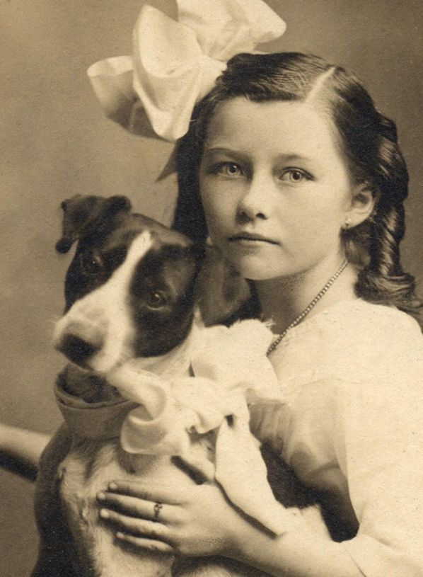 Vintage photo -- young girl with giant bow in her hair holding a terrier
