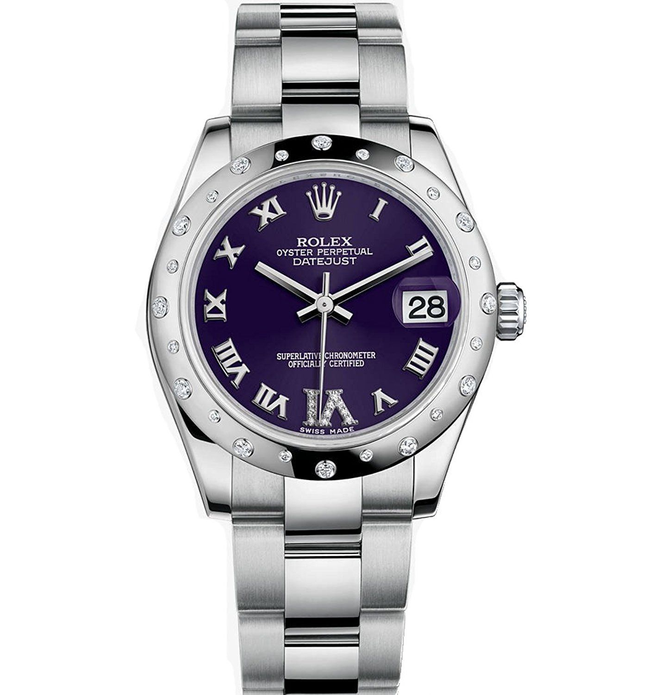 rolex datejust 31 stainless steel watch purple diamond dial 24 diamond bezel awesome