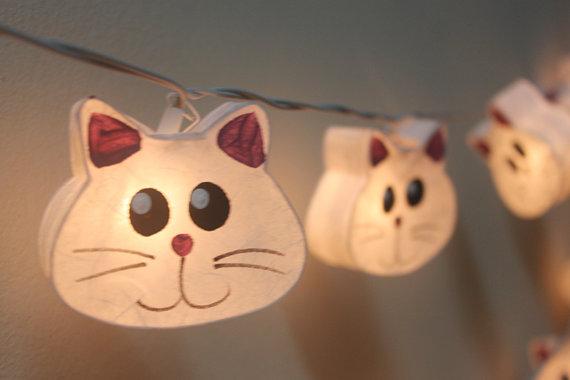 20 Battery Powered LED chaton mûrier lanternes en papier par ginew