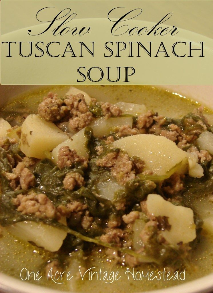Slow Cooker Tuscan Spinach Soup #spinachsoup