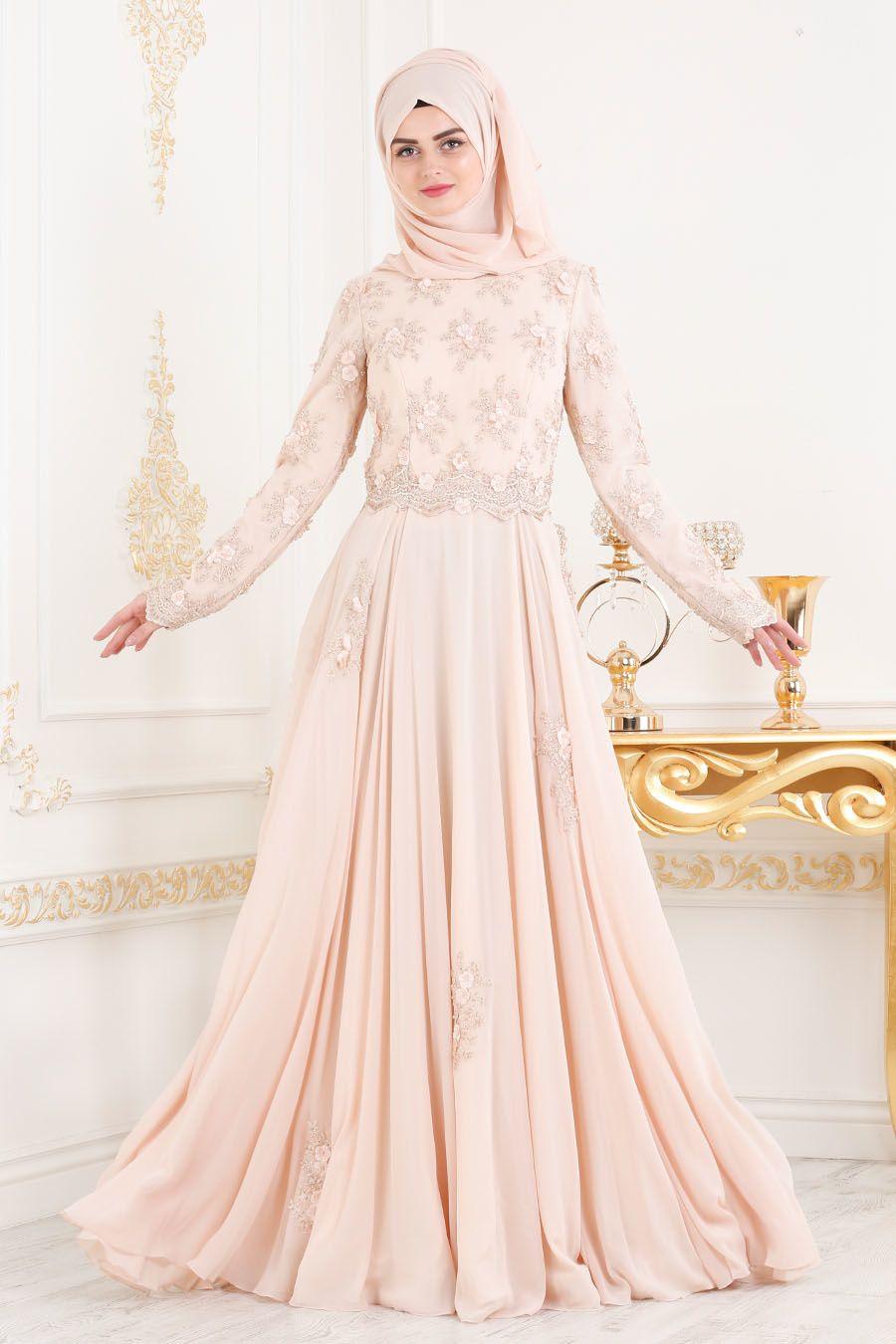 0f0e2b6696d25 Tesettürlü Abiye Elbise - Boncuk Detaylı Somon Tesettür Abiye Elbise  43961SMN