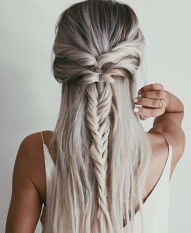 Fishtail Braid Half Up Second Day Hair Loessadams Instagram Photo Kapsels Lang Haar Haar