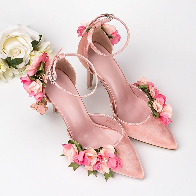 dfd0a4b37bd 2019 New Style Pink 3D Flower Wedding Shoes With Tapered Sandals ...
