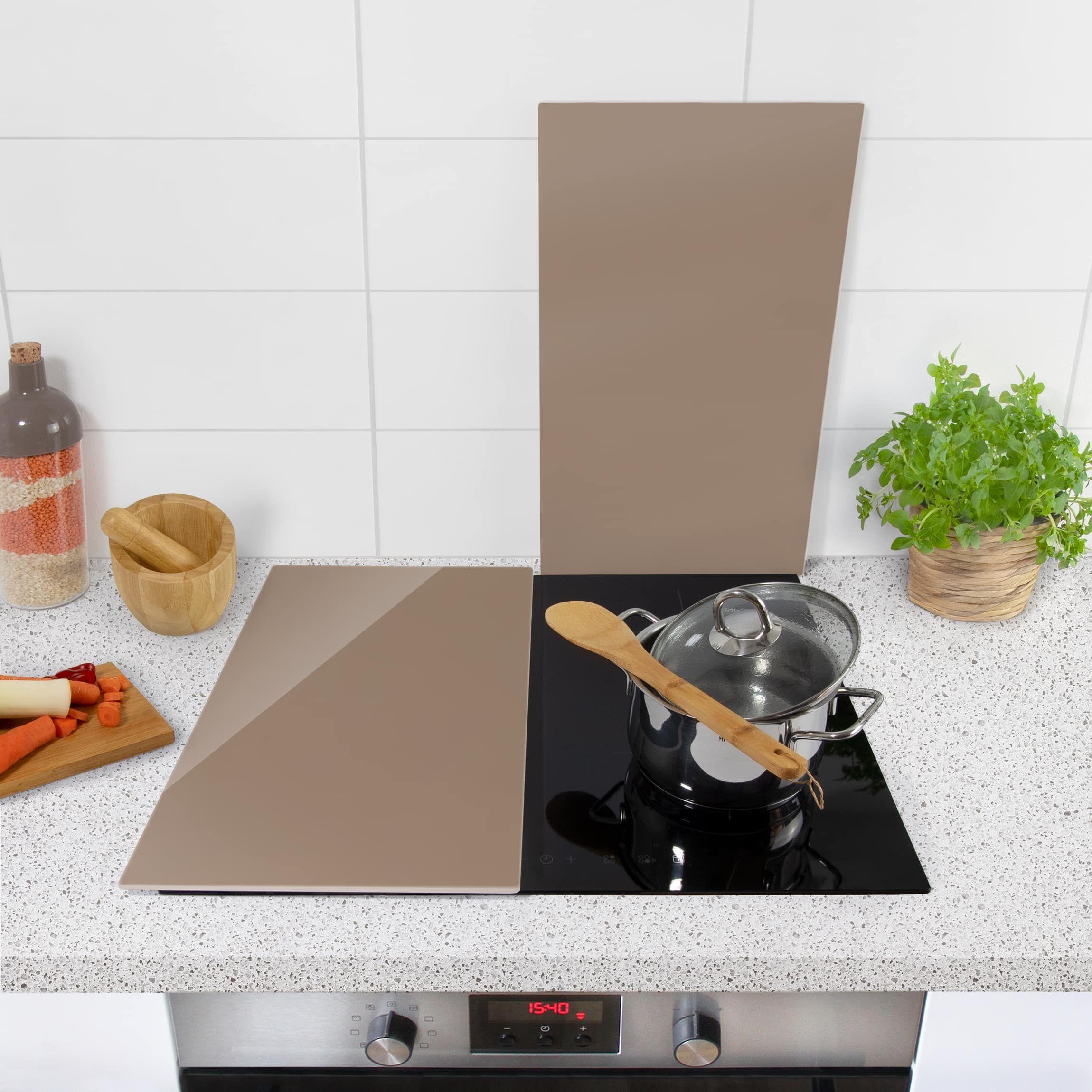 Tagliere Per Piano Cucina coprifornelli in vetro - mocca - 52x60cm | paraschizzi, luce