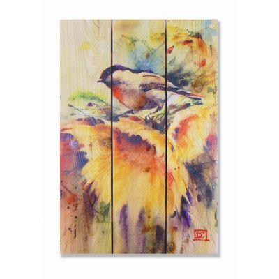 Signature 1 Sunny Day Cedar Painting Print On Cedar Outside Wall Art Outdoor Wall Art Chickadee Art