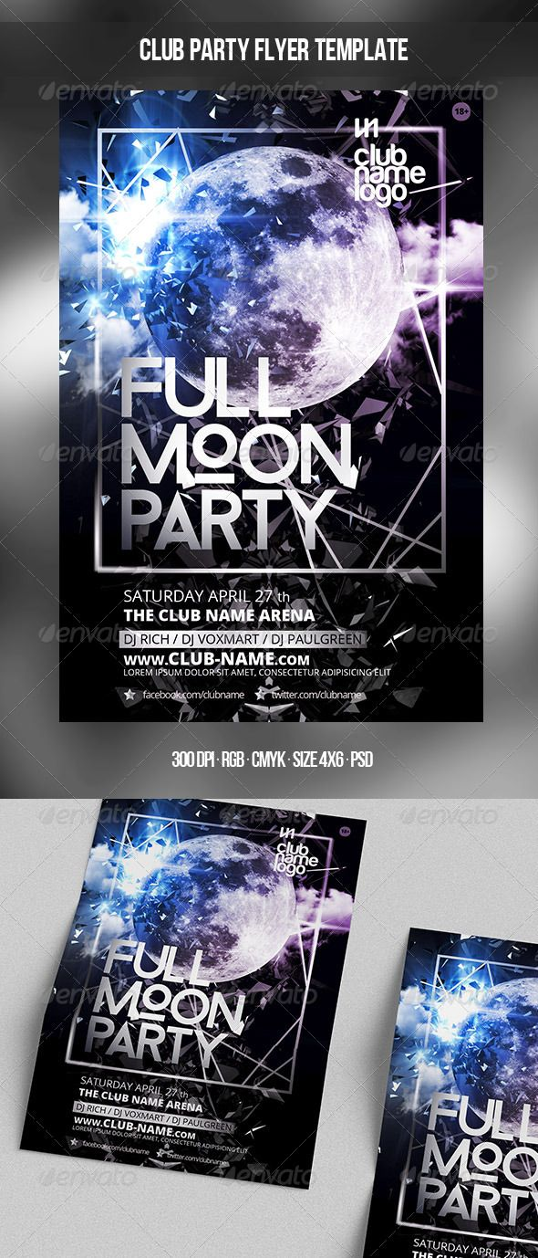 File Info Club Poster Template Size 4x6 With 025 Bleed Mode CMYK RGB Files Included 2 PSD Editable FilesMore About Free Font Information