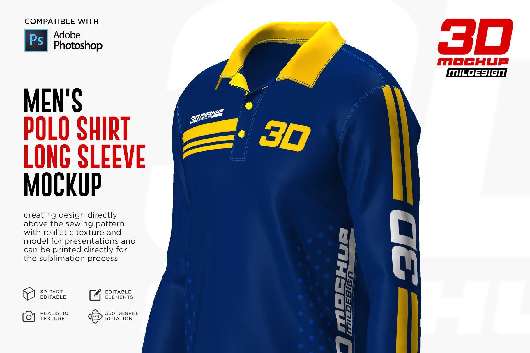 Download 3d Men S Polo Shirt Long Sleeve Long Sleeve Shirts Men S Polo Shirt Long Sleeve