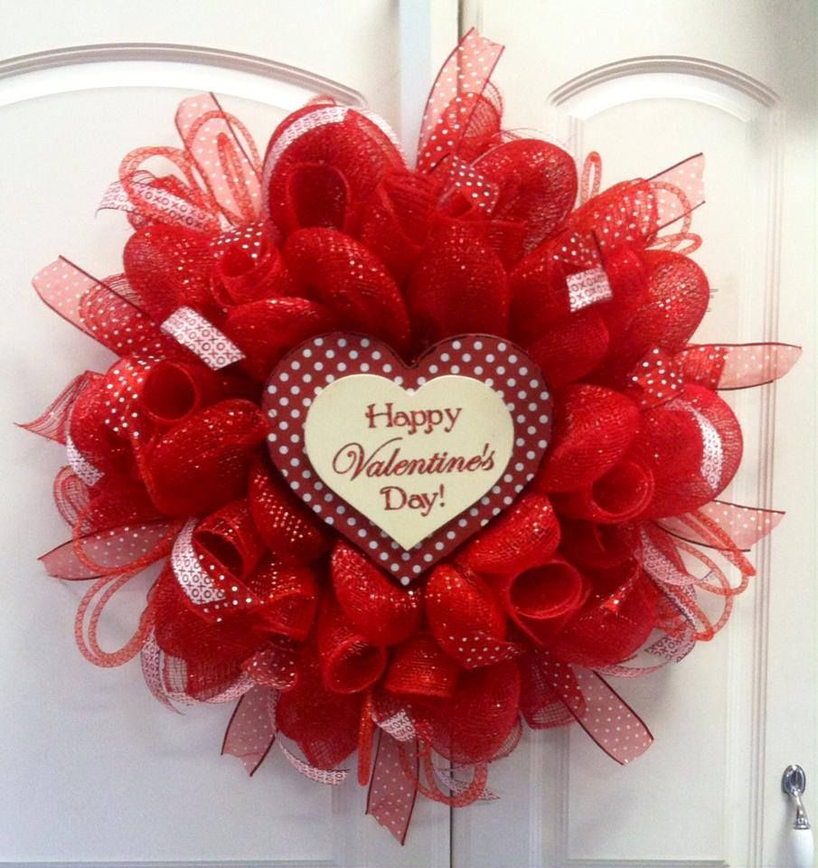 valentine deco mesh wreath - Google Search | Things I want to make ...