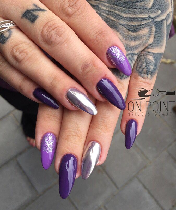 Fluid nail design acrylic nails with @kleancolor - true purple ...