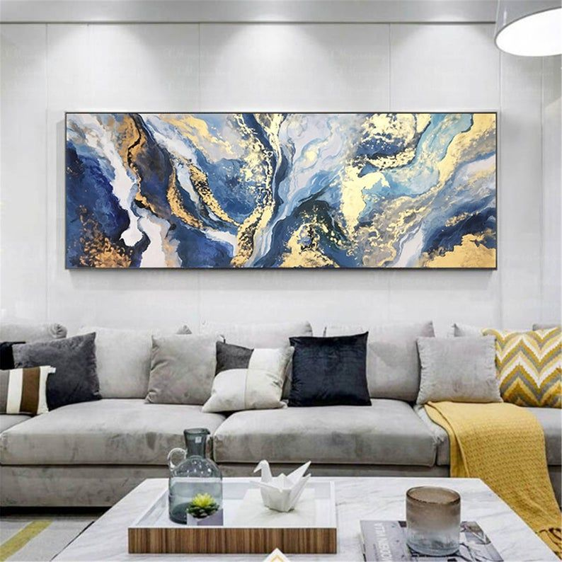 Gold Art Abstract Painting Canvas Wall Art For Living Room Wall Decor Home Decor Original Frame Navy Blue Acrylic Handmade Gold Leaf Artwork Blue And Gold Living Room Living Room Art Bedroom decor canvas abstract painting
