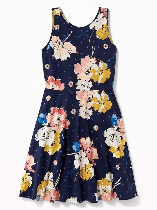 5a0915f015 Old Navy Patterned Fit   Flare Jersey Sundress for Girls