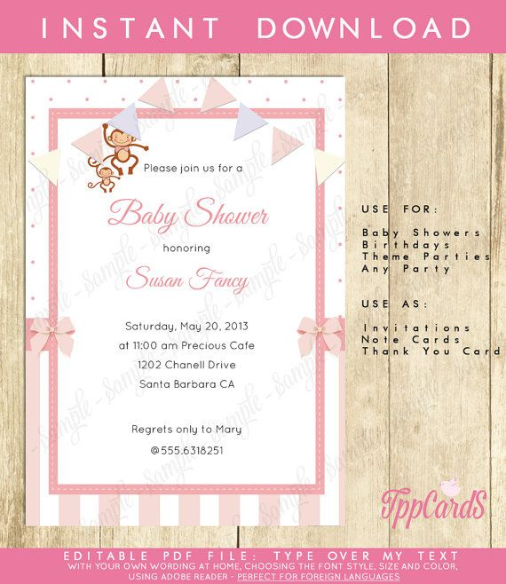 Instant Download Pink Monkey Baby Shower Invitations Editable Pdf DIY 5x7…