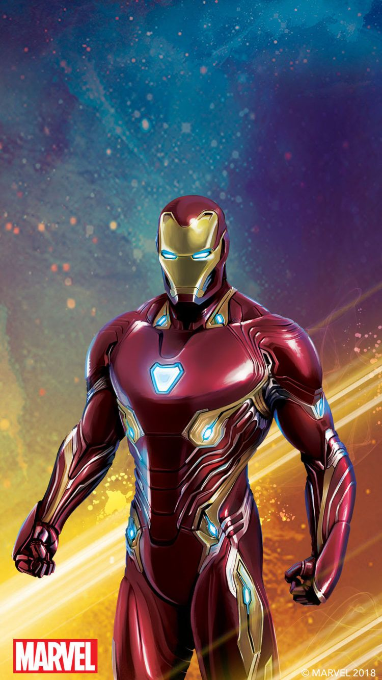 An Image Of Iron Man With A Colorful Background The Red Marvel Logo