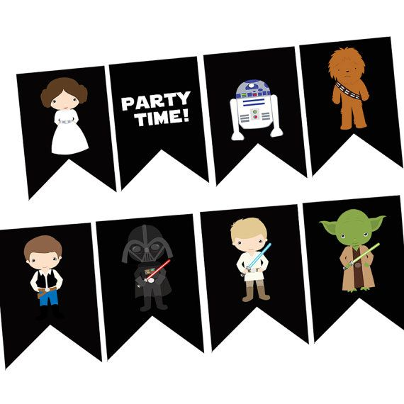 This Listing Is For A Digital You Print Characters Banner Each Flag Is App Star Wars Happy Birthday Birthday Banner Template Happy Birthday Banner Printable