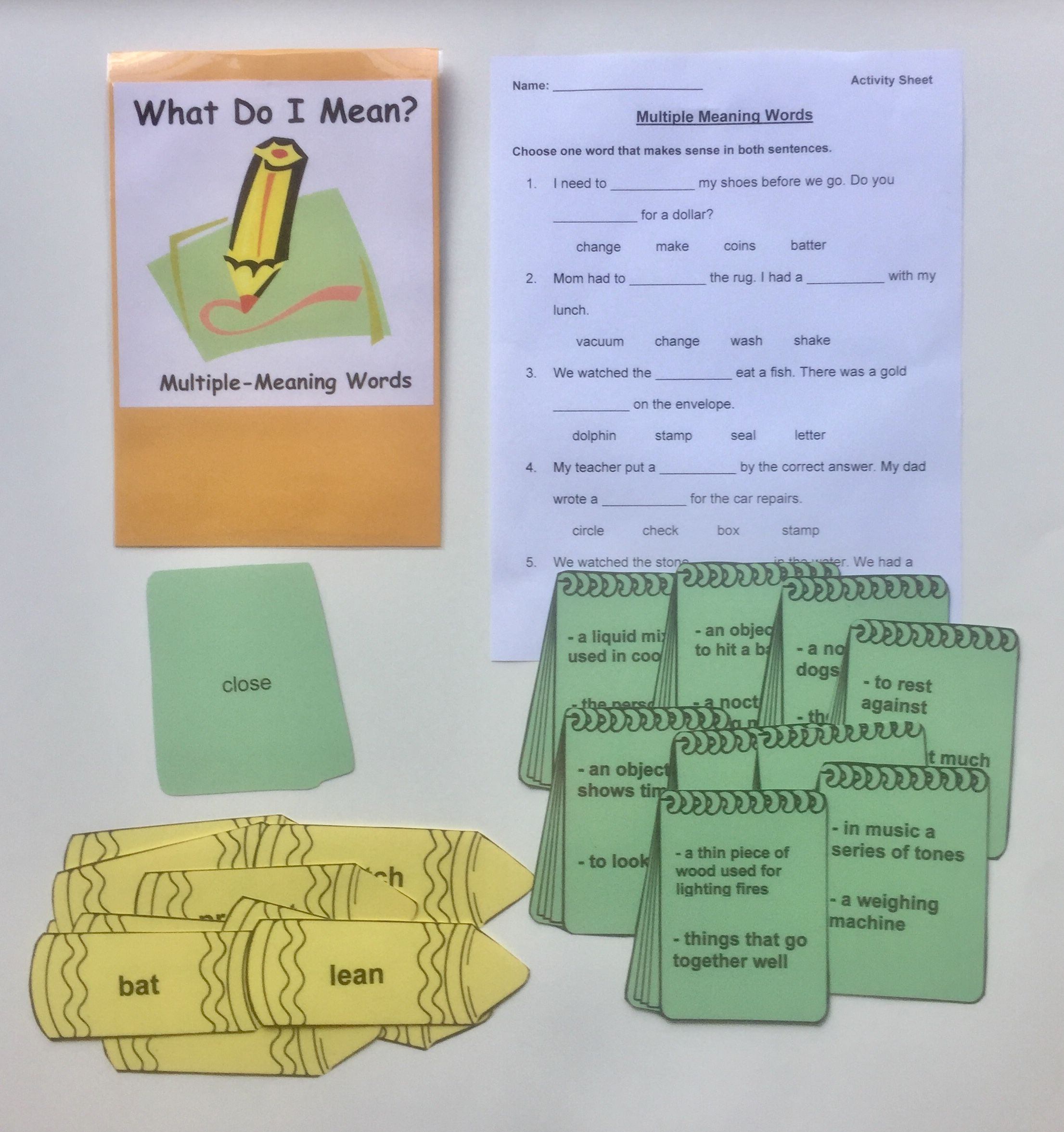 Multiple Meaning Words Help Students Practice And