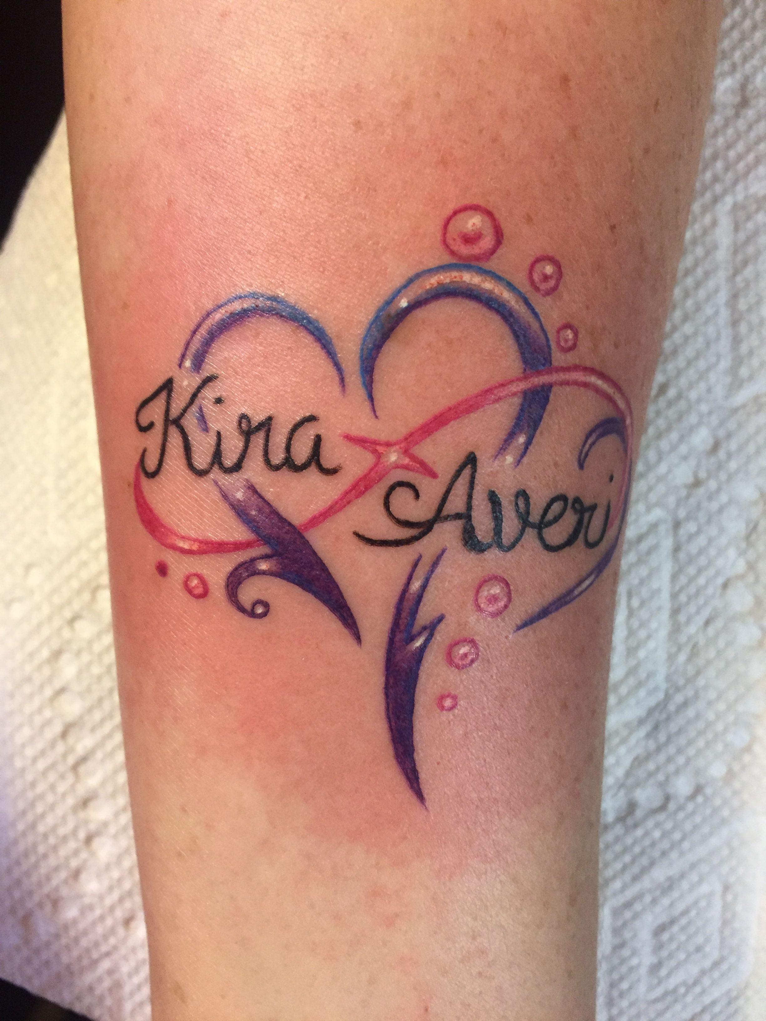 Infinity Heart With My Girls Names Ink Ninja Tattoo Made 2 Create Ferndale Wa Baby Name Tattoos Name Tattoos For Moms Name Tattoos