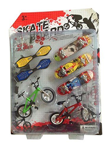 THJT Mini Finger Toy 7 Pack 5 Skateboards 2 Bikes Party Favors Children Gift -- Click image to review more details.