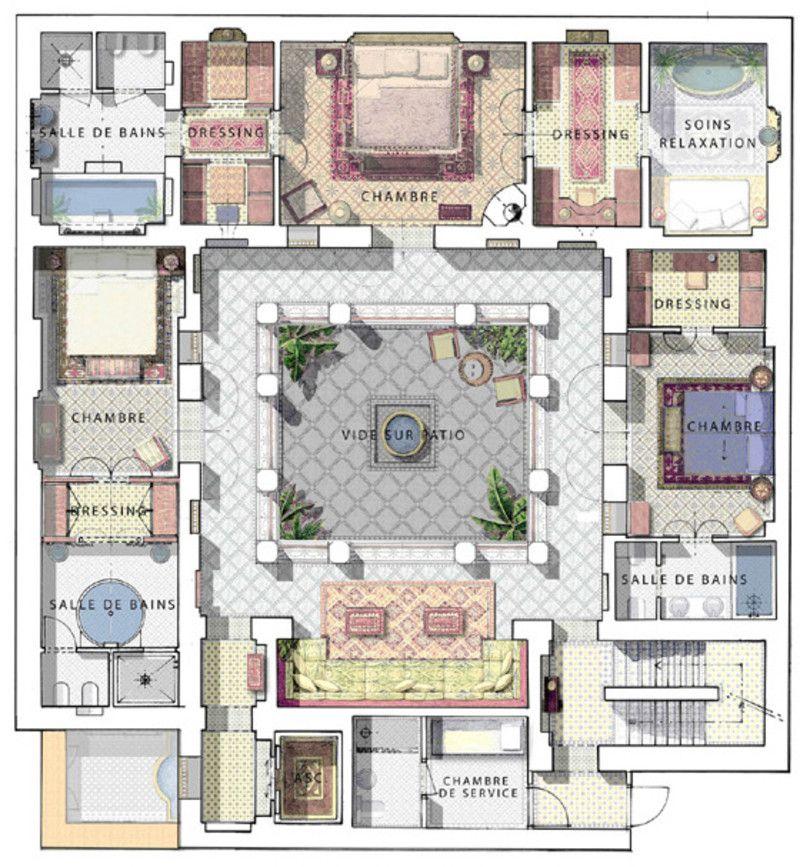 Prestige riad marakesh pinterest architecture for Moroccan house plans