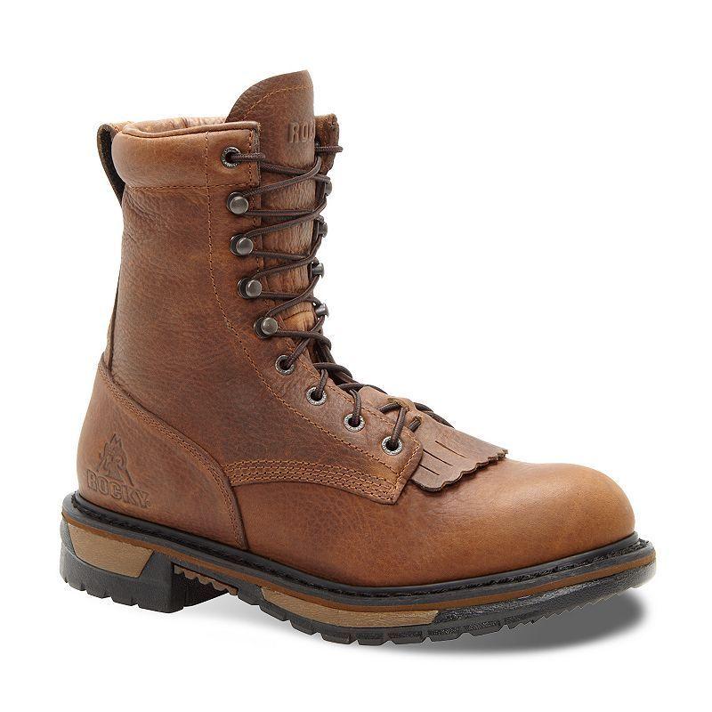 Rocky Original Ride Lacer 8-in. Waterproof Western Men's Work Boots, Size: medium (11.5), Lt Brown