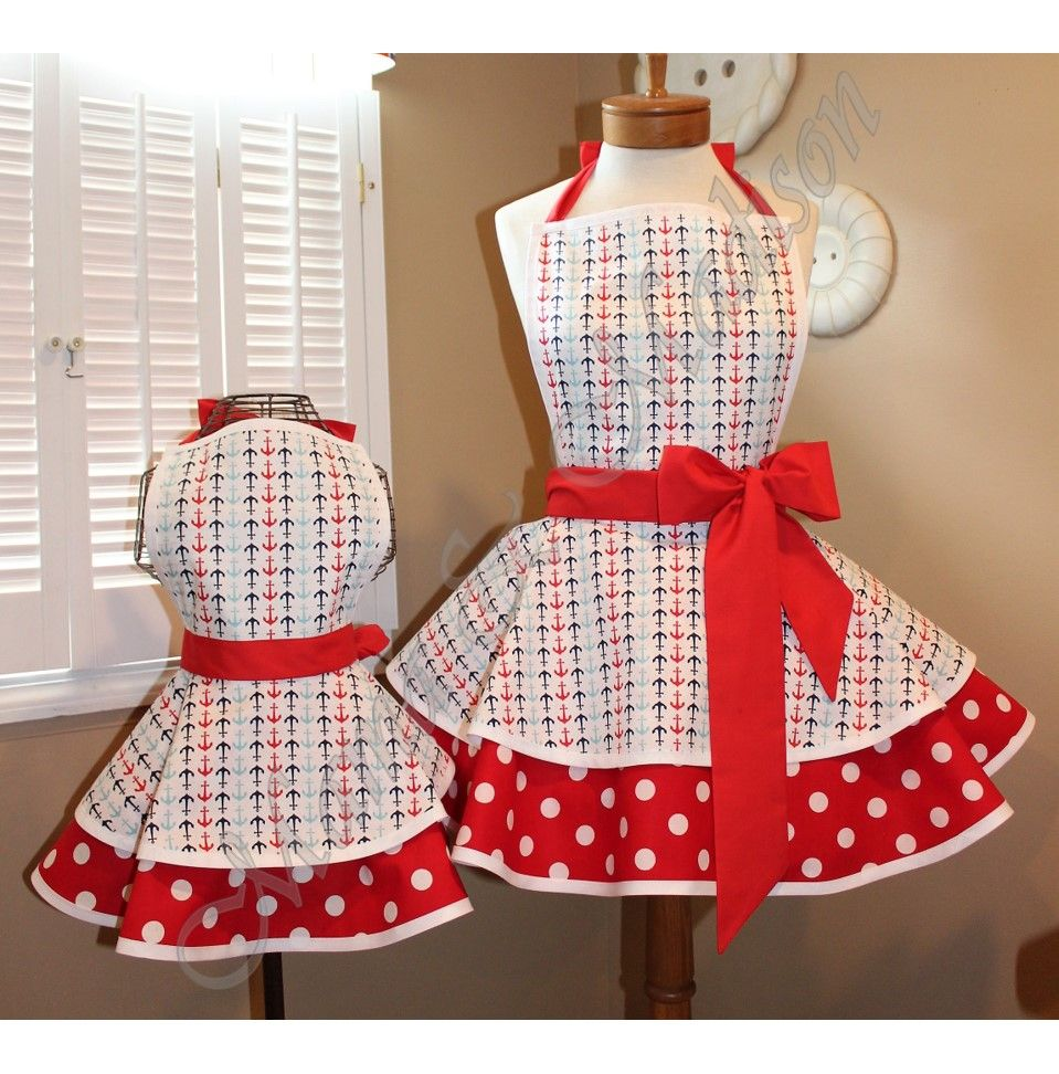 Mommy Me Matching Retro Apron Set in Beautiful Steel Grey Blue Floral Accented Pretty Peach...Custom Order Your Sizes