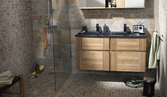 carrelage travertin salle de bain - Recherche Google Maison - faience ardoise salle de bain
