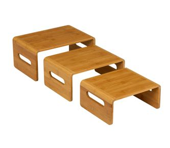 Superior Food Risers Buffet | Bamboo Riser Set, Bamboo Display, Buffet Table Settings
