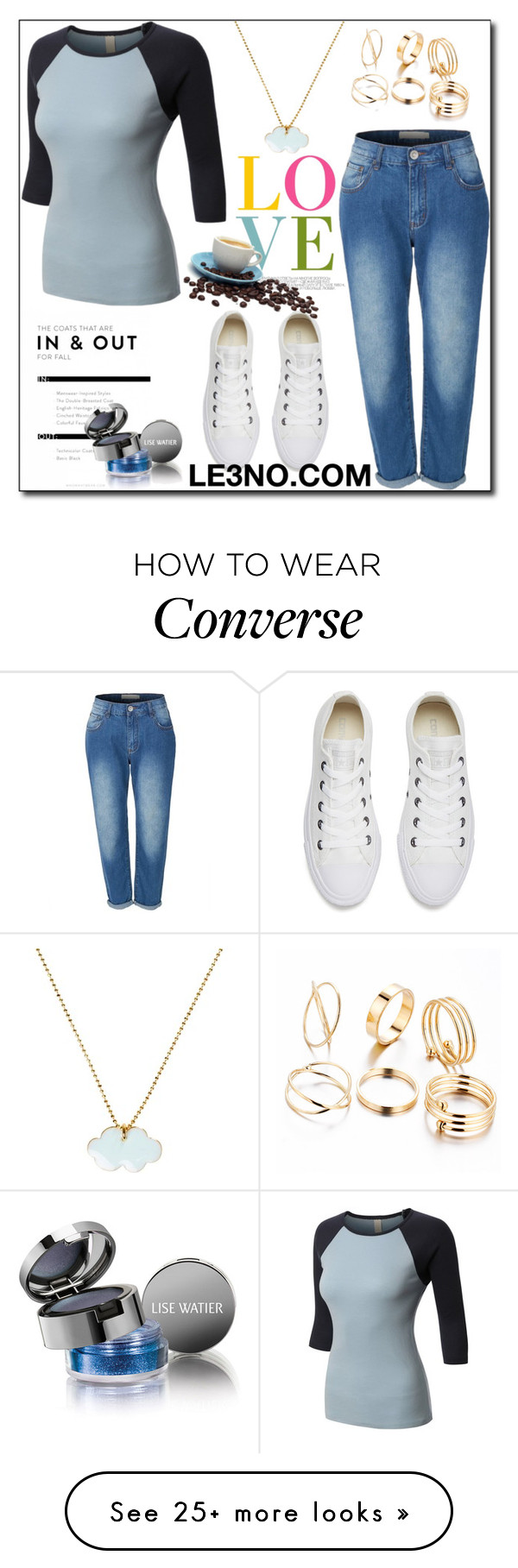 """LE3NO Clothing VI"" by esma178 on Polyvore featuring Converse, Conran, LE3NO, Lise Watier, le3no and le3noclothing"
