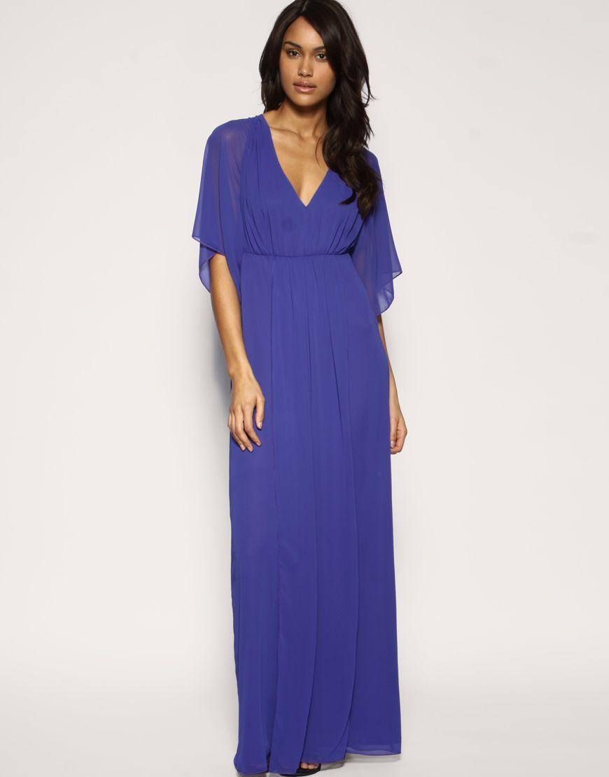Kaftan Sleeve Plain Chiffon Maxi Dress | Chiffon maxi, Kaftan and ...