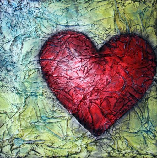 oil pastel heart on tissue paper background   --Could work this to make a great Jim Dine Kindergarten project.  Warm/Cool