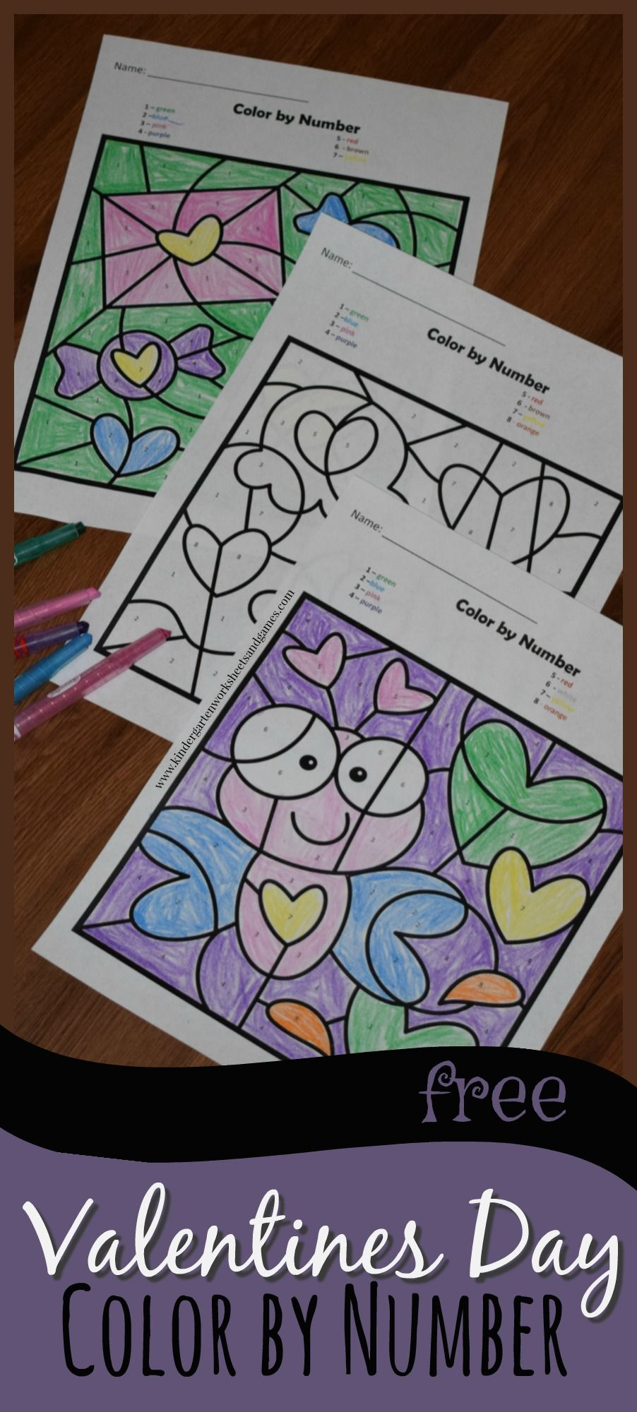 FREE Valentines Day Color by Number are super cute math worksheets ...