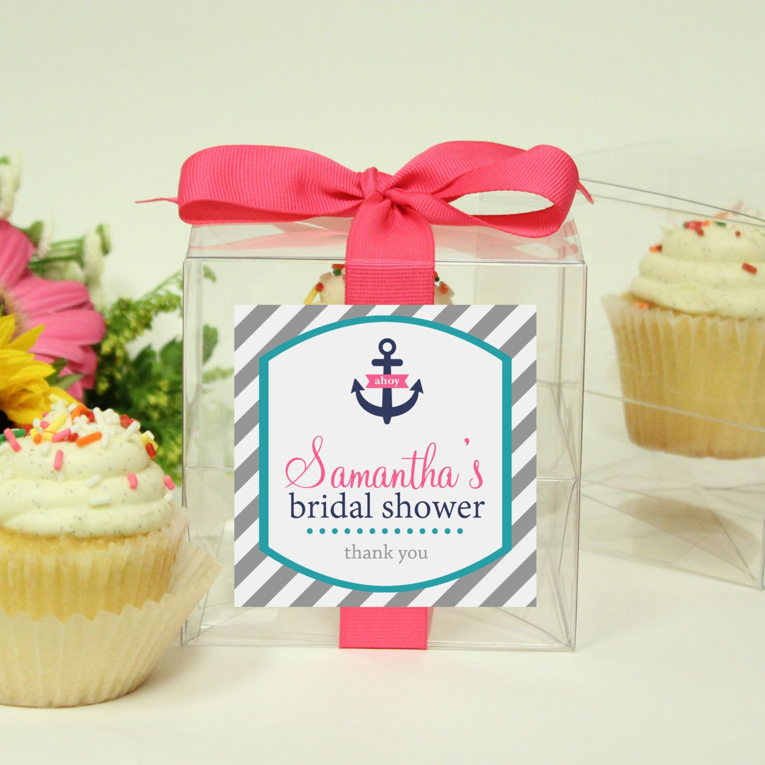 Bridal Shower Favor Boxes Cupcake Boxes Nautical Label Any