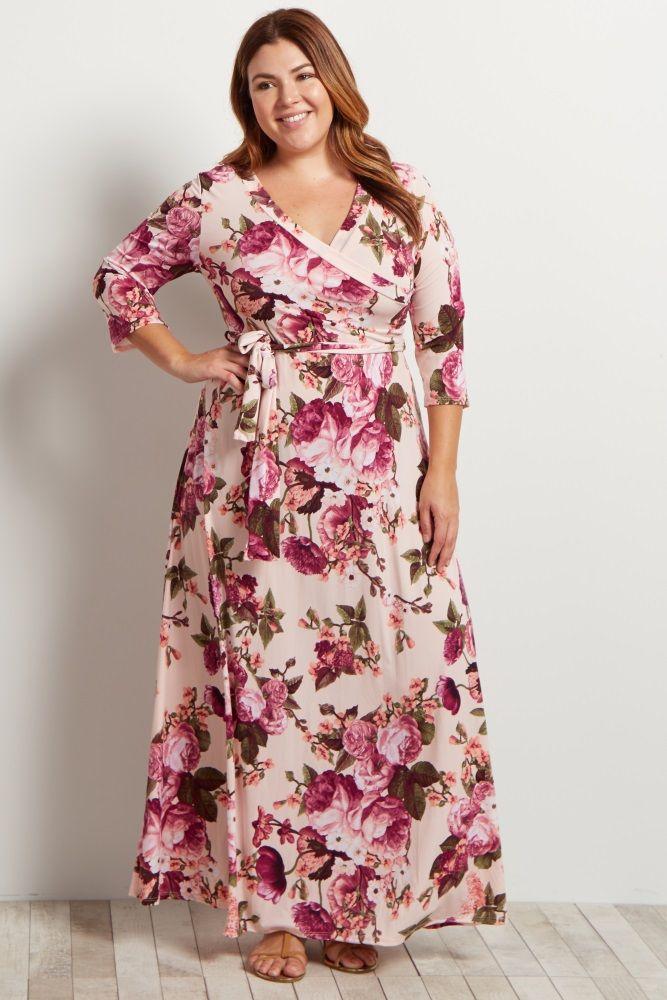 Light Pink Floral Draped Plus Maxi Dress Clothes Pinterest