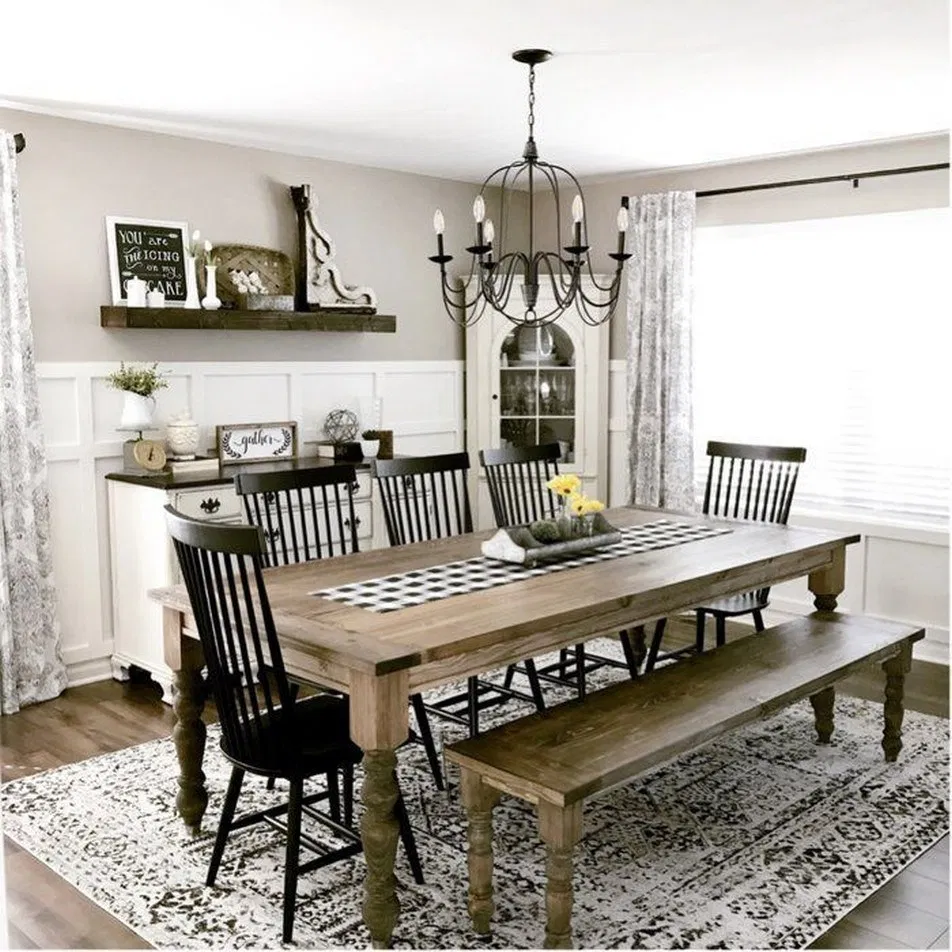 Casual Dining Room Buffet Decorating Ideas: 20 Awesome Farmhouse Dining Room Table Decor Ideas 33