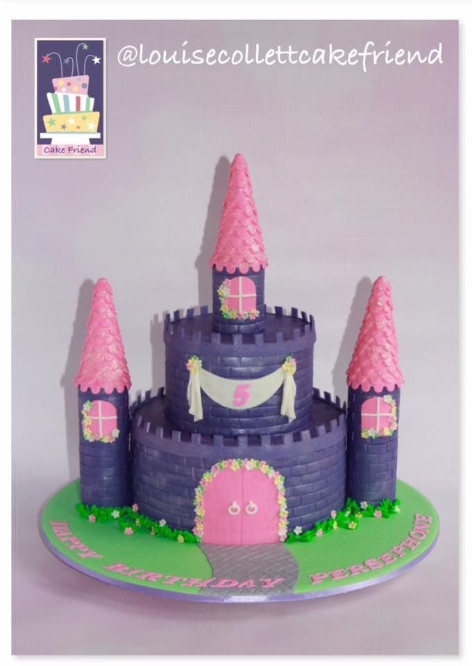 purple and pink castle cake