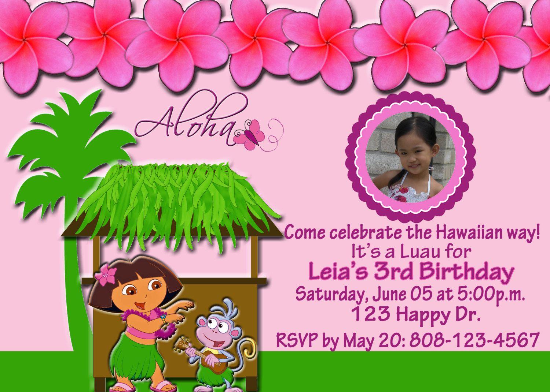 Luau Dora Invitation Dora Luau Party Pinterest – Dora Party Invites