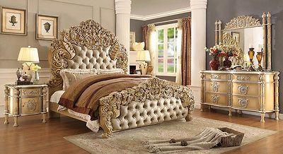 New Luxary Elegant European Button Tuft Bedroom Set King 5 Pc Hd