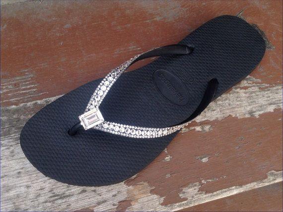 4639ec074aca6 Havaianas Slim Sophisticate Rocks Flip Flops w  Swarovski Crystal Bling  Princess Baguette Bride Sandals Jewels Rhinestone Thong Beach Shoes