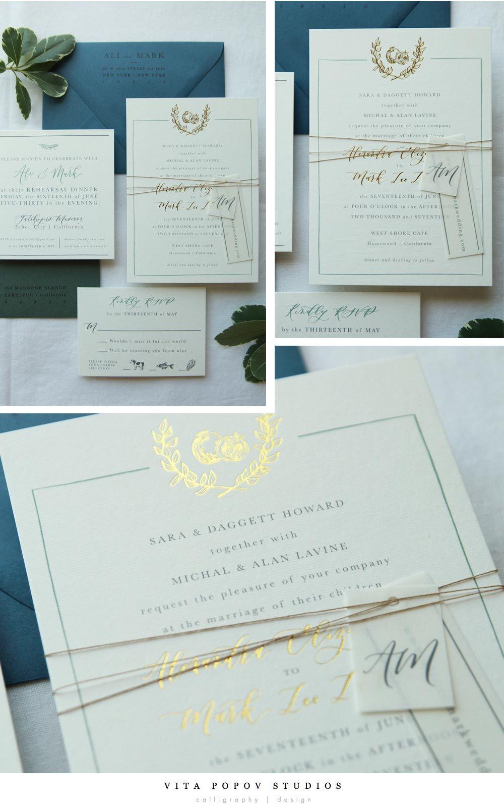 funny wedding invitation mail%0A Custom made simple wedding invitation suite by Vita Popov Studios