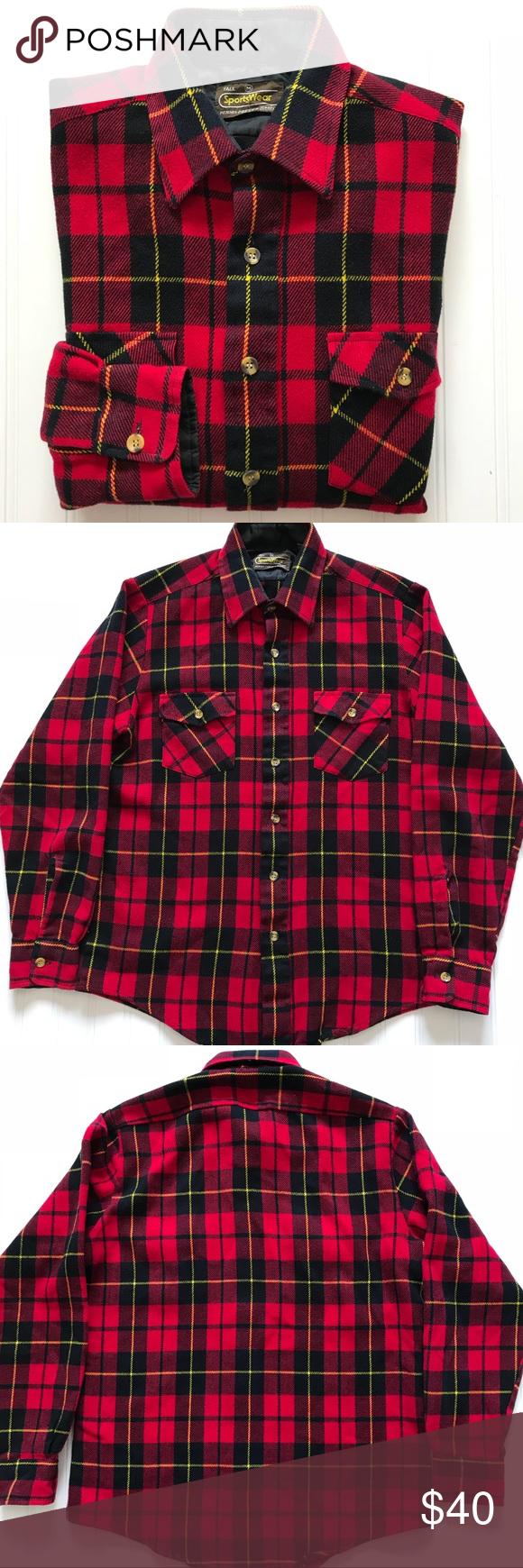 Red flannel 2018  Vintage Buffalo Plaid Flannel Shirt M in   My Posh Picks