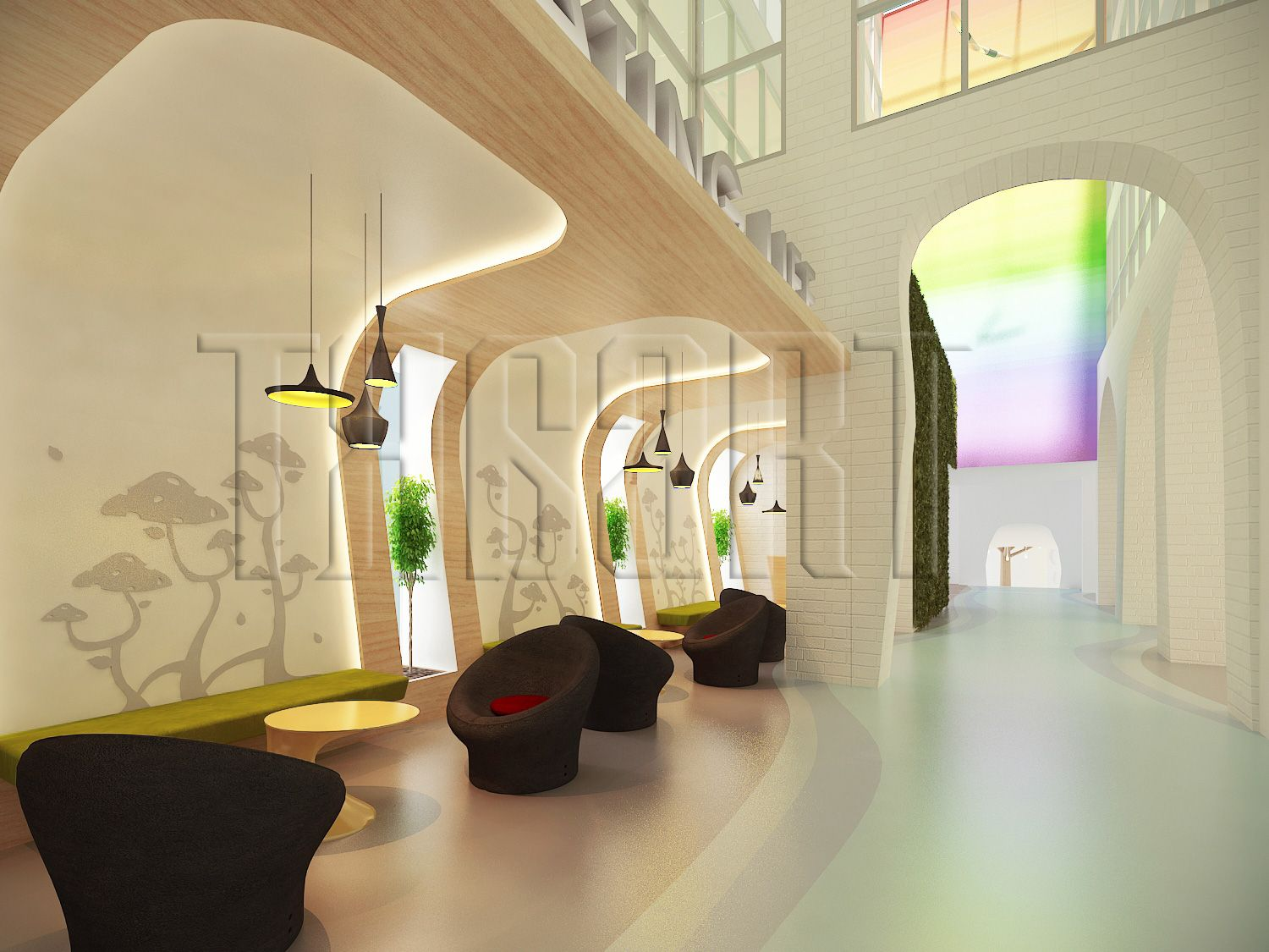 Waiting area a maternity hospital with a whimsical for Apartment design process