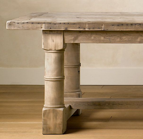 Restoration Hardware     Gun barrel salvaged wood dining table