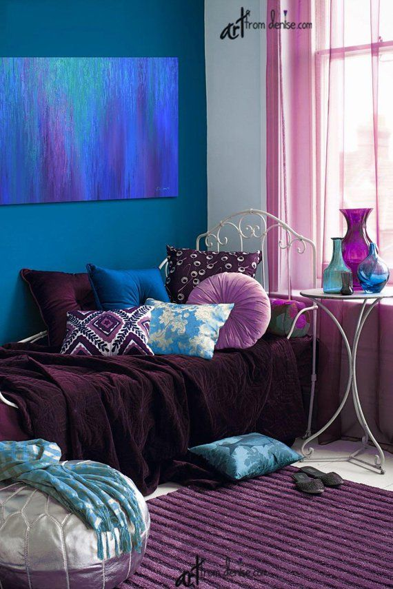 Cobalt Blue And Purple Abstract Canvas Wall Art For Jewel Tone Etsy Jewel Toned Bedroom Decor Purple Living Room Purple Bedrooms