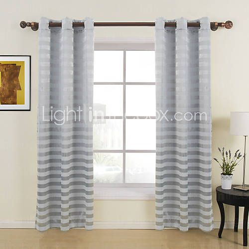 54 55 Bedroom Stripe 100 Polyester Two Panels Polyester Jacquard Striped Room Curtains Interior