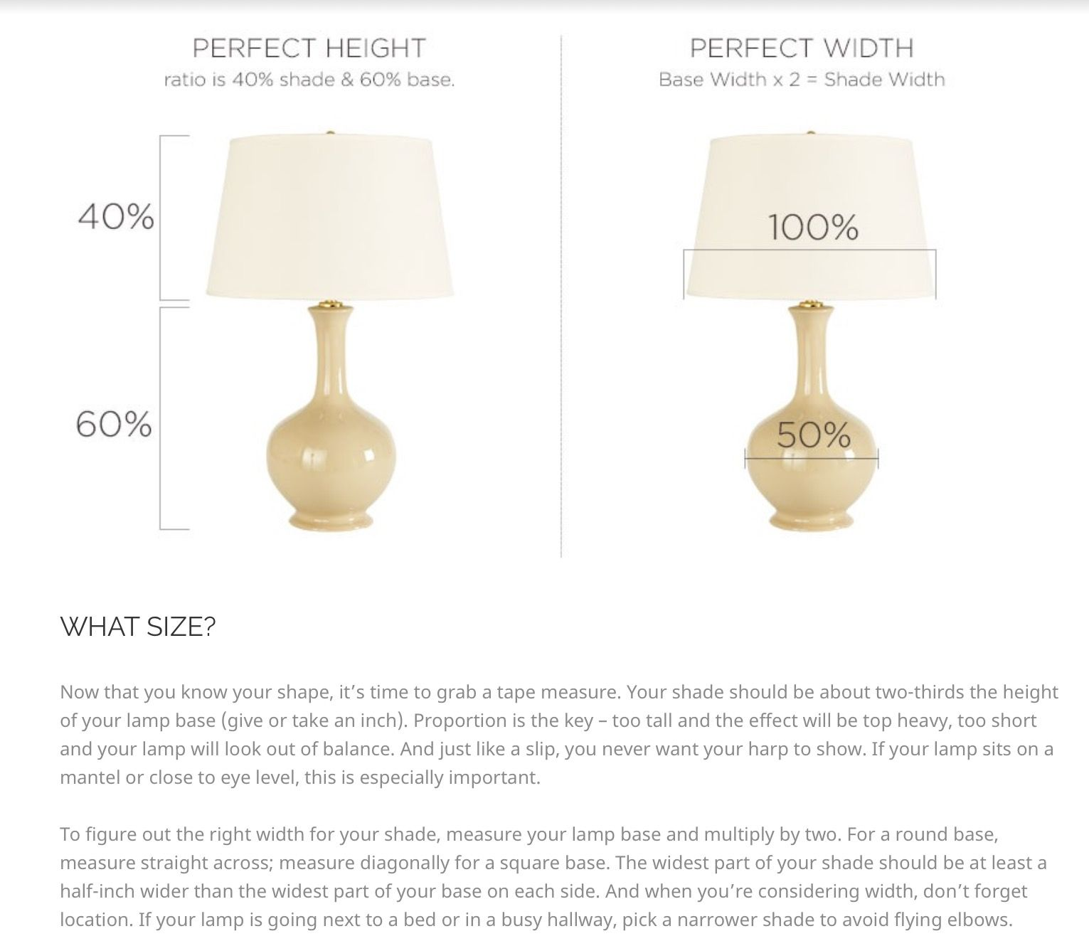 How to select the correct size of lamp shade Lamp