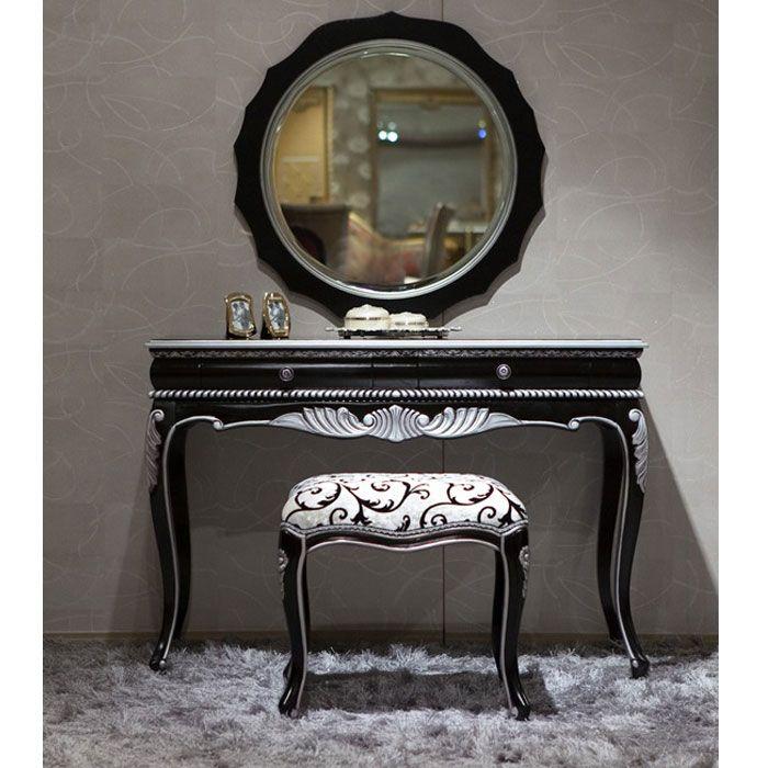 Classic Vanity Black Silver Bedroom Vanity Set Vintage