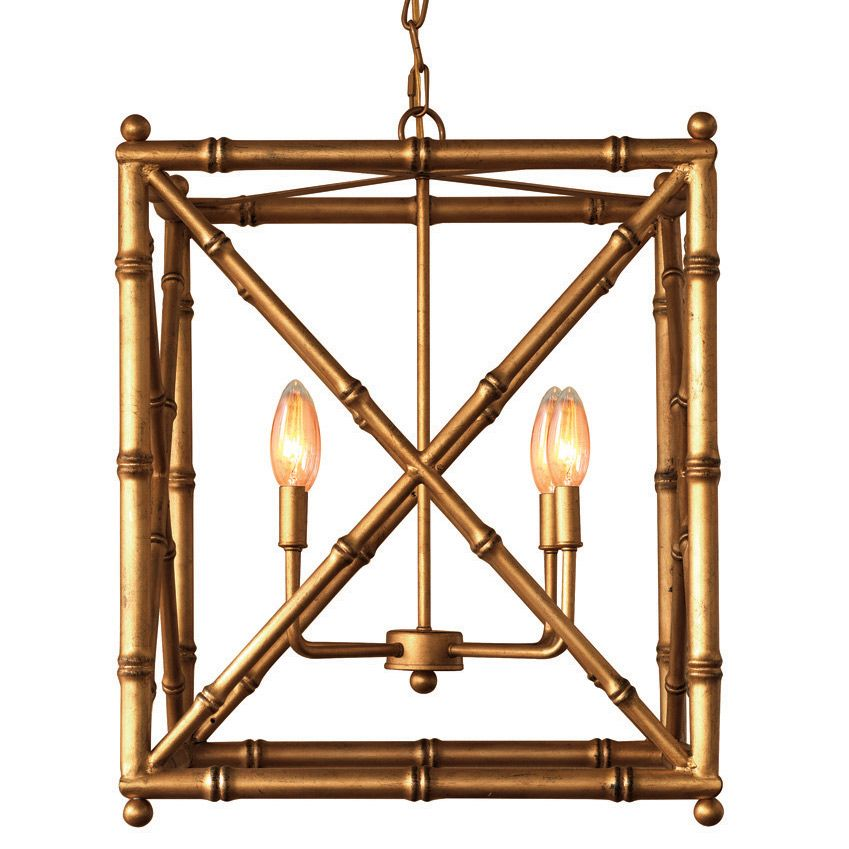 Scalamandre Maison introduces exquisite, iconic designs through the seamless combination of styles and periods. The gold Baldwin chandelier sets transitional living rooms or hallways aglow with eclectic sophistication. An open shape featuring criss-cross panels, the intriguing light fixture's metal bamboo frame captures the eye through subtle detailing and texture. Accepts 60W max bulb (not included) and is hardwired. Includes canopy and metal chain. Optional clip shades available for ex...