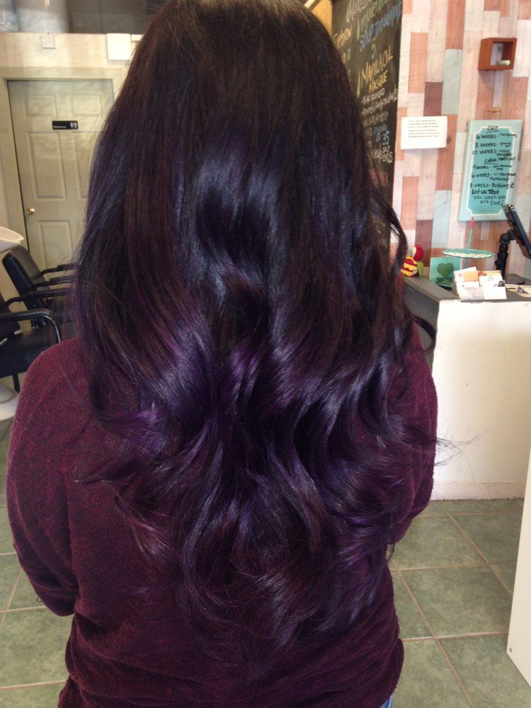 Dark purple ombré and balayage techniques … | Pinteres…