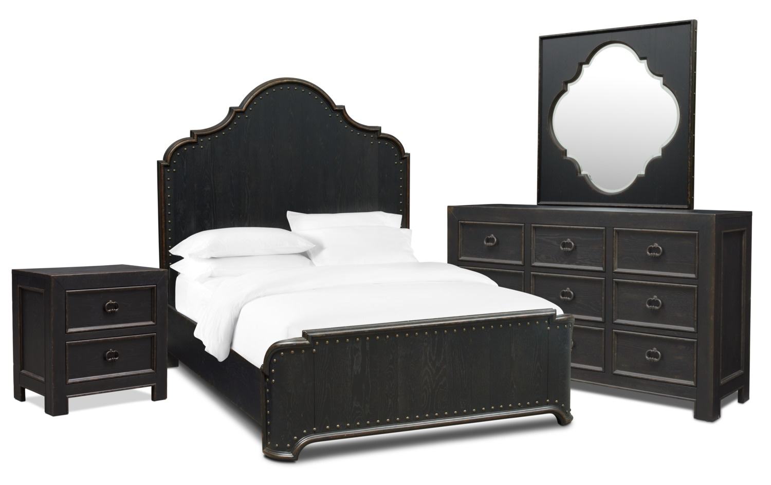 Lennon 6 Piece Queen Bedroom Set With Nightstand Dresser And Mirror Kettle Black Bedroom Sets Queen