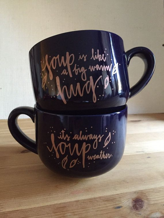 Soup Mugs Navy Blue Rose Gold By Calou On Etsy Cricut
